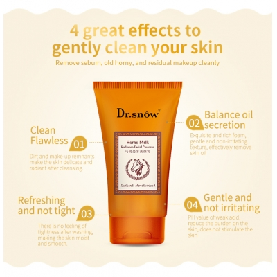 Deep Cleansing Horse Milk Whitening Facial Cleanser Soft Hydrating Face Cleanser